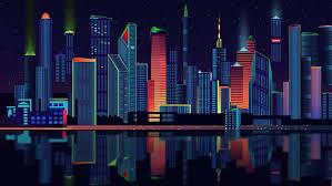 tower block city lights night sky