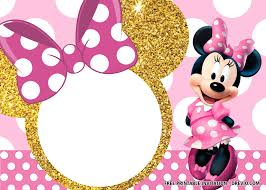 Free Pink And Gold Minnie Mouse Invitation Templates