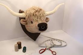 mounted fabric highland cows head
