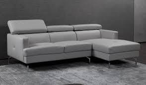 renzo small grey leather corner sofa