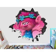 Trolls Poppy Wall Decal Smashed 3d Sticker Vinyl Decor Mural Kids Broken Wall 3d Designs Op511 Medium Themed Kids Room Wall Stickers Murals Vinyl Decor