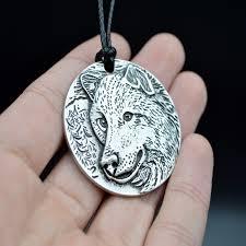 antique silver wolf pendant necklace