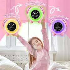 Amazon Com Knguvth Kids Alarm Clock Updated Version Sleep Training Kids Clock With 7 Changing Colors Teach Girls Boys Time To Wake Up 6 Alarm Rings Nap Timer Rechargeable Battery Usb Charging Clock