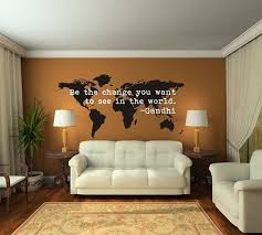 World Map Wall Decal Be The Change Quote Modern Nursery Etsy Wanderlust Wall Decor Map Wall Decal World Map Wall Decal