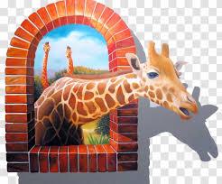 Wall Decal Mural Painting Sticker Giraffidae Broken Windows Out Of The Giraffe Transparent Png