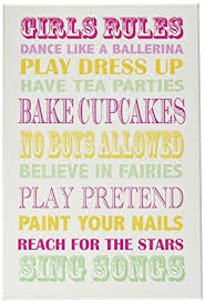 Amazon Com The Kids Room By Stupell Girls Rules Pink Yellow And Green Typography Rectangle Wall Plaque Baby