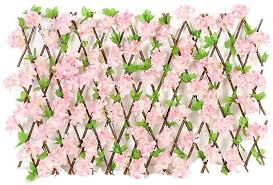 Amazon Com Imshie Expandable Fence Wooden Hedge Garden Screening Expanding Trellis Privacy Screen With Artificial Flower Leaves Home Kitchen