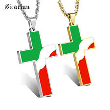 flag cross pendant necklace chain metal