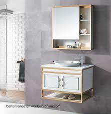 wall hung wooden wash basin cabinet