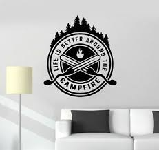 Vinyl Wall Decal Campfire Camping Fire Fireplace Forest Stickers Mural G2577 Ebay