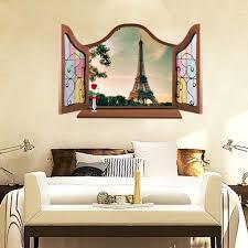 International Gifts Eiffel Tower 3d Window View Decal Wall Sticker Living Room Bedroom Art Mural Home Decor 90 Cm X 60 Cm