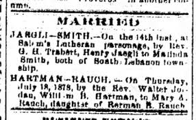 Marriages: Henry Jaegli to Malinda Smith; William B. Hartman to ...
