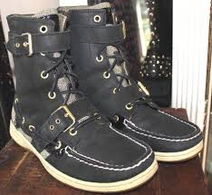 sperry top sider black leather boot