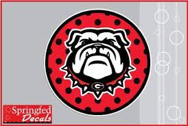 Amazon Com Georgia Bulldogs Spike Dog On Red Polka Dot Circle 6 Vinyl Decal Uga Car Truck Sticker Kitchen Dining