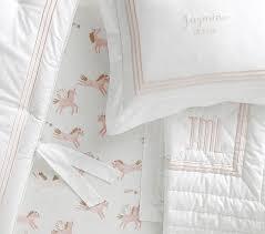 grand blush unicorns striped baby bedding