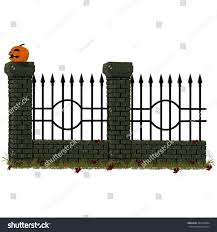 Stone Cemetery Fence Carved Halloween Pumpkin Stock Vector Royalty Free 486130954