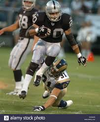 The Oakland Raiders Justin Fargas (cq) leaps past the St. Louis Rams Stock  Photo - Alamy