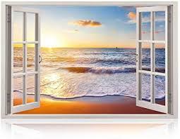 Amazon Com Realistic Window Wall Decal Peel And Stick Nautical Decor For Living Room Bedroom Offi In 2020 Beach Wall Murals Beach Wall Decals Wall Stickers Window