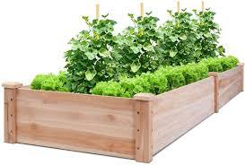 Amazon Com Giantex Raised Garden Bed Planter Wooden Elevated Vegetable Planter Kit Box Grow For Patio Deck Balcony Outdoor Gardening Natural Garden Outdoor