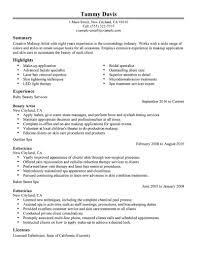 beauty artist resume sle no