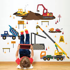 Multicolor Construction Site Wall Decals Construction Truck Decals Pee