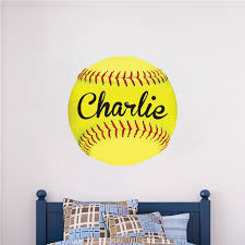 Custom Softball Wall Decal Personalized Name Soft Ball Mural Kids Room American Wall Designs