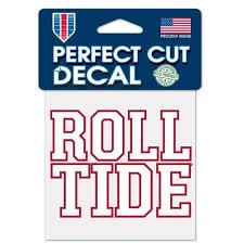 Alabama Crimson Tide Roll Tide Die Cut Decal Stickers Perfect Cut 3x3 Hub City Sports