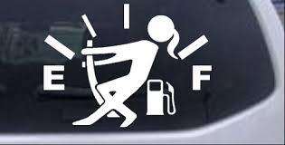 Funny Gas Gauge Empty Full Female Girl Woman Car Or Truck Window Decal Sticker Rad Dezigns