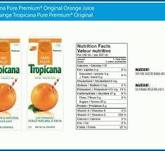 tropicana orange juice ings label