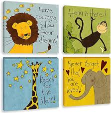 Amazon Com Biufo Jungle Animals Wall Art Canvas Print Inspirational Quotes Safari Painting Pictures For Nursery Toddler Kids Room Decor Framed 12x12 Inches Posters Prints