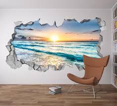 Sunset Broken Wall Decal 3d Wallpaper 3d Wall Decals 3d Etsy