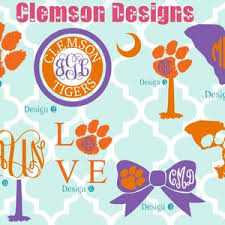 Clemson University Vinyl Decals Monogram Decals Etsy