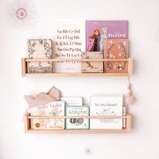 Wall Bookshelf For Children With Round Peg Wooden Etsy