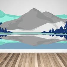 Mountain Wall Decals Watercolor Wallpaper Look Fabric Wall Etsy