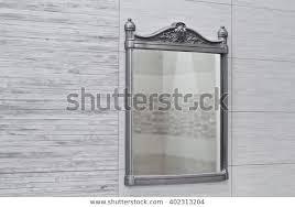 mirror decorative metal frame on gray