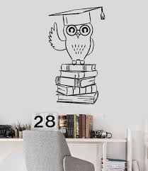 New Creative Owl Vinyl Wall Decal Student College Education Books Stickers Art Study Room Wall Sticker Teens Room Wallpaper Wall Stickers Children Wall Stickers Decals From Joystickers 10 96 Dhgate Com