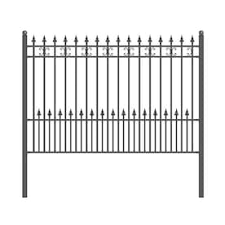 Aleko Unassembled Steel Fence Unassembled Steel Fence 6 Ft H X 8 1 Ft W Black Steel Yard Fence Panel In The Metal Fence Panels Department At Lowes Com