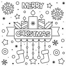 Vrolijk Kerstfeest Kleurplaat Premium Vector