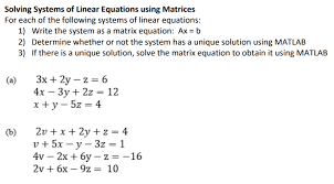 system of 3 equations using matrices