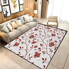 Amazon Com Floral Hallway Rug Kids Rug Nursery Rug Monochrome Floral Arrangement Roses Leaves Branches Retro Environment Elements For Kids Baby Room Bedroom Nursery Ruby Beige White 6 X 7 Ft Kitchen