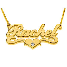 24k gold plated silver name necklace in