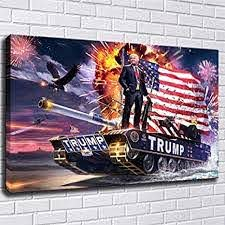 Amazon Com Lihuaiart Donald Trump American Republican President Tank Poster Wall Art Home Wall Decorations For Bedroom Living Room Oil Paintings Canvas Prints 24x36inch 241 Unframed Posters Prints