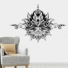 Mandala Lotus Flower Wall Decal Om Symbol Vinyl Sticker Home Decor Bedroom Removable Bedroom Window Namaste Yoga Poster Dg347 Wall Stickers Aliexpress