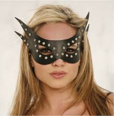 black leather cat woman eye mask