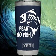 Vinyl Monogram Decal For Your Tumbler Cups Lowball For Men Fear No Fish Quote Ebay