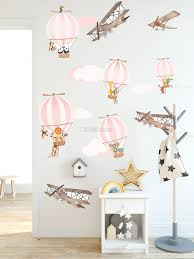 Kids Pink Hot Air Balloon And Brown Aircraft With Clouds Wall Decal Sticker Wall Decals Wallmur