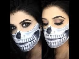 half skull half glam make up