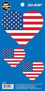 Amazon Com Usa Heart American Flag Vinyl Car Stickers 3 Decals Automotive