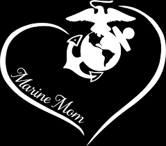 Marine Mom Curve Heart Decal Motherproud