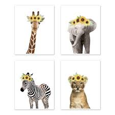 sunflower safari jungle animal wall art
